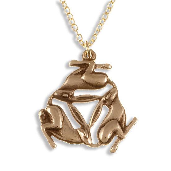 Three hares pendant, bronze