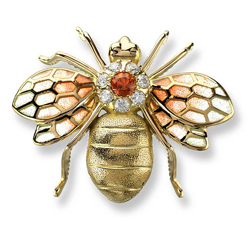 18 Carat Gold Orange Bee Brooch, Diamonds and Orange Sapphire