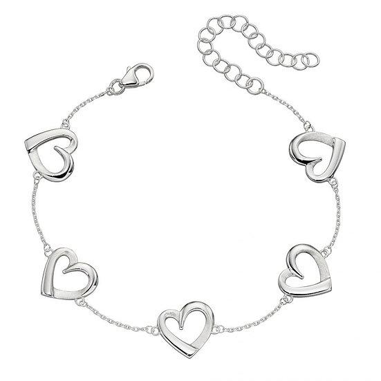 Layered heart station bracelet