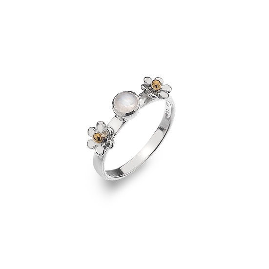 Silver Daisy Ring with Gemstone