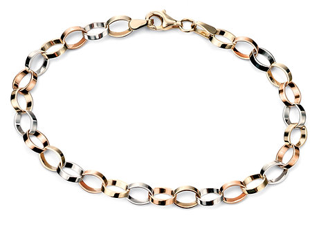 Three Colour Gold Flat Link Bracelet