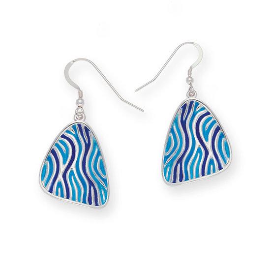 St Justin Glas Mor Trig Low Tide enamelled drop earrings