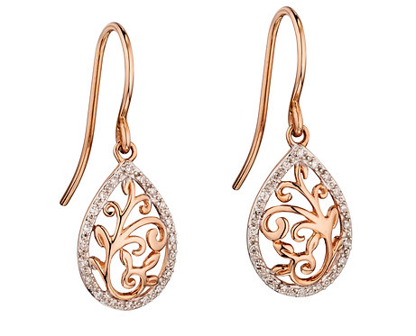 Rose Gold Baroque Cutout Earrings with pave Diamond