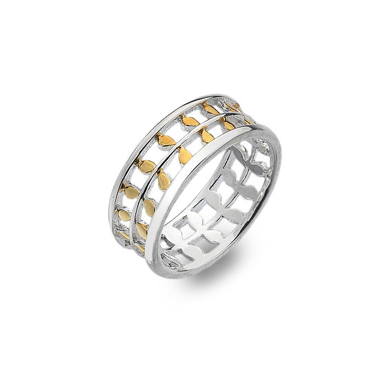 Leaves Ring, Silver with Gold Plate