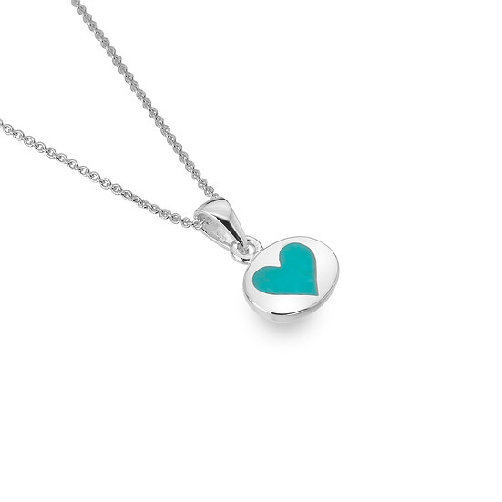 Heart Pendant with Pink Mother of Pearl or Turquoise