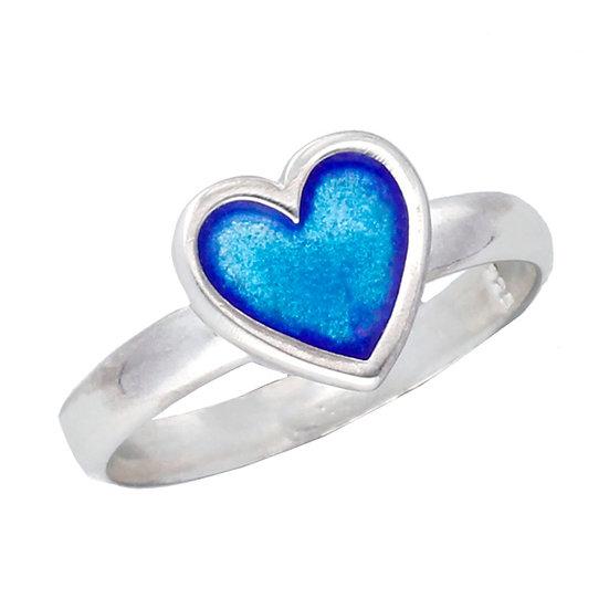 Blue enamelled heart ring