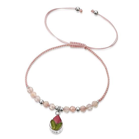 Real Flower Gemstone bracelet, Poppy or Rose Bud
