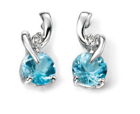 White Gold Diamond and Blue Topaz Twist Earrings