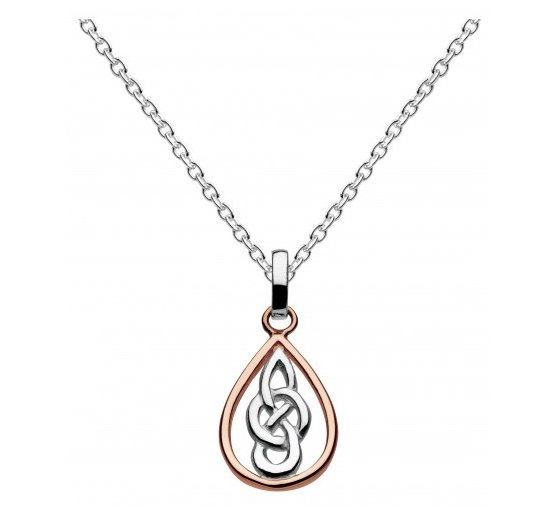 Celtic Silver Kyla Knotwork Pendant, Rose Gold plated