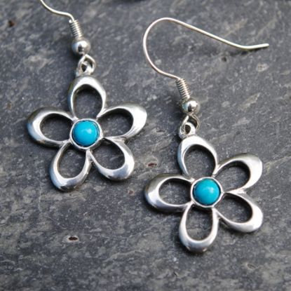Open Flower Earrings, Turquoise