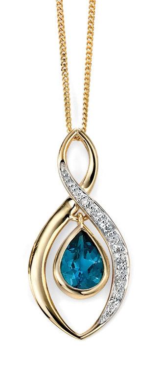 London Blue Topaz Pendant with Diamonds