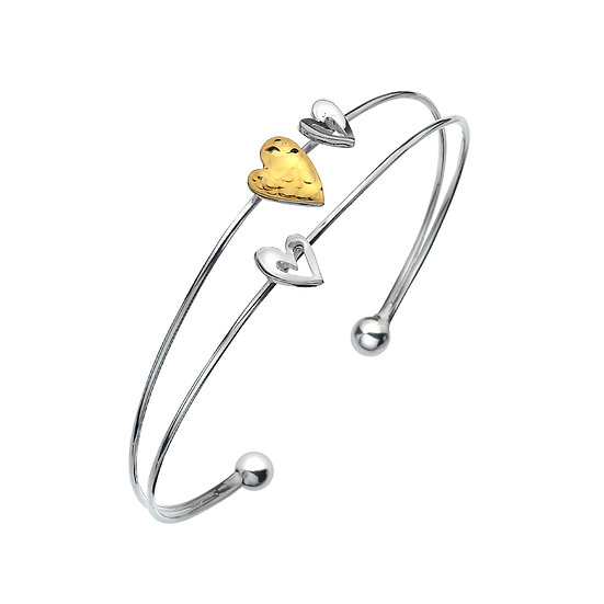 Silver Double Bangle with Hearts