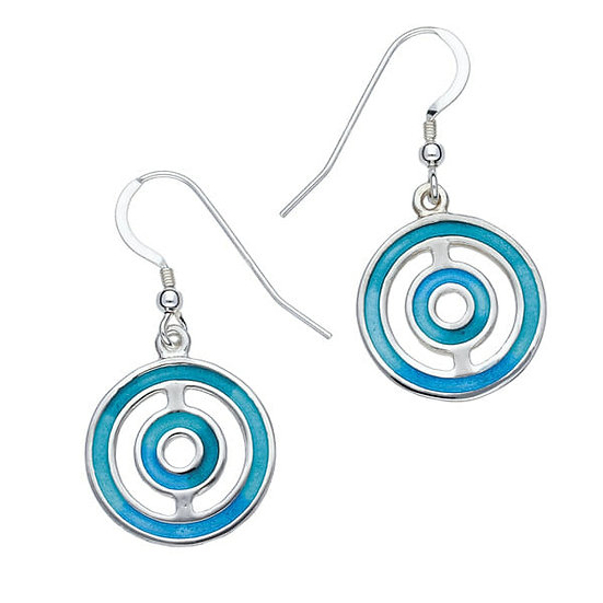St Justin Glas Mor Keynvor enamelled drop earrings