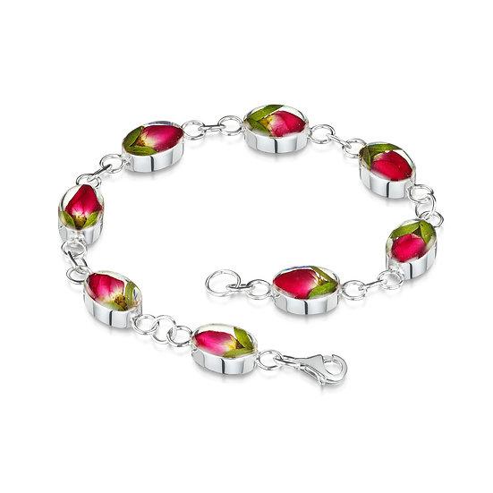 Rose Bud Silver Bracelet, real flowers