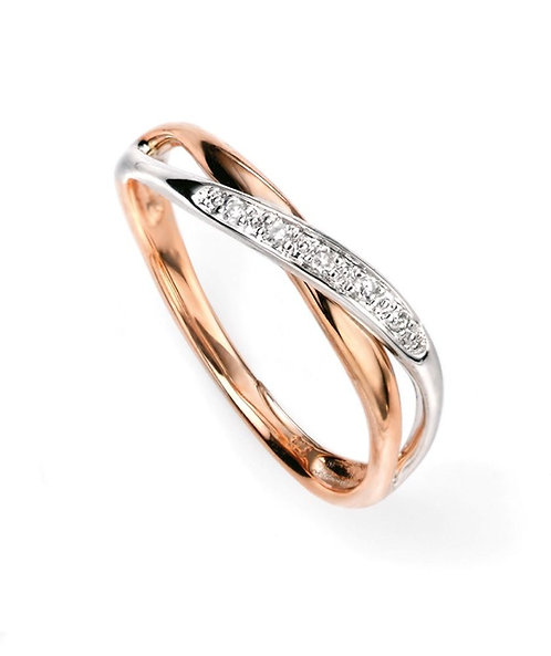 Rose Gold and White Gold twist ring with diamonds