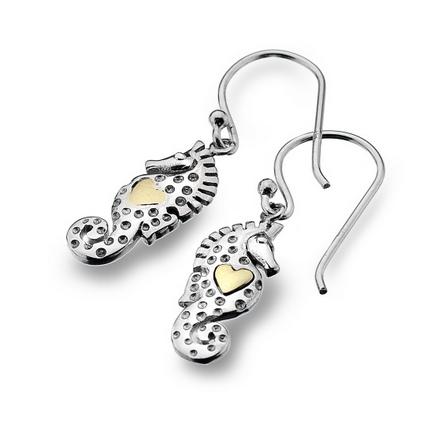 Seahorse Heart Earrings, Silver