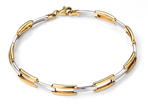 Yellow and White Gold Oval Rectangle Link Bracelet