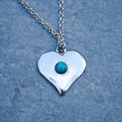 Gemstone Heart Pendant, pewter
