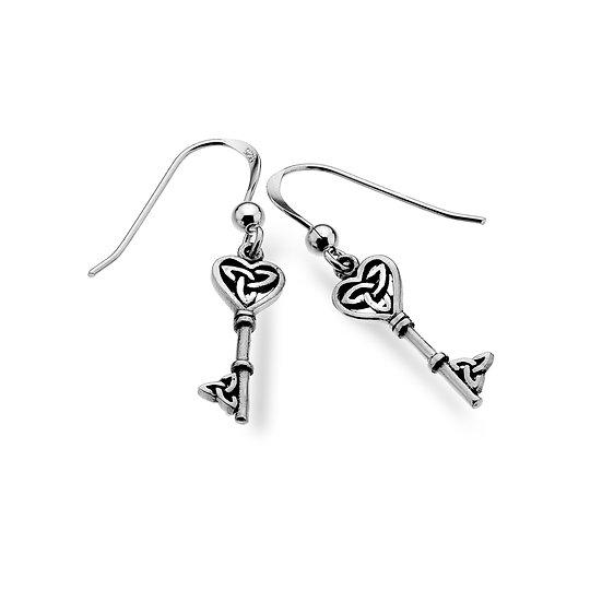 Celtic Heart Key Earrings