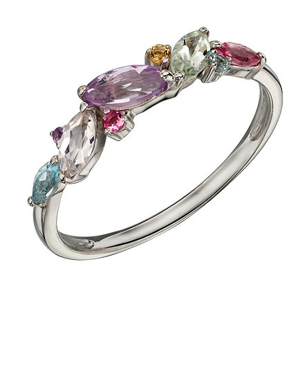 9ct White Gold Multistone Ring