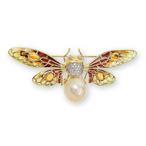 18 Carat Gold Yellow Bee Brooch with Diamonds, Southsea Pearl and Citrine