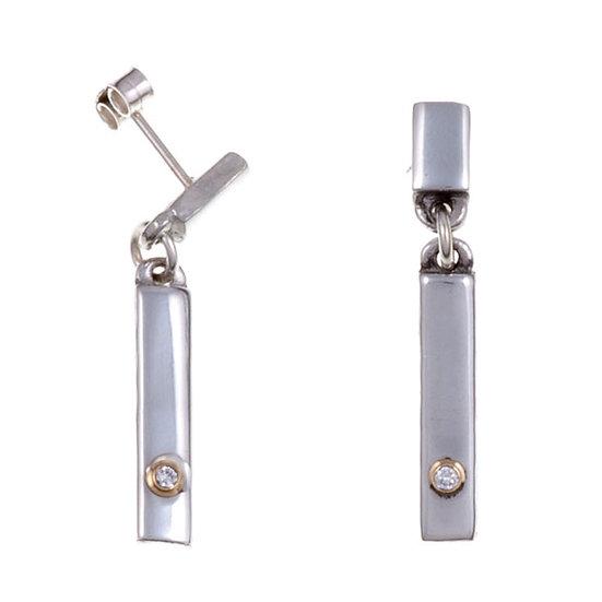 Diamond Bar drop stud earrings, Cornish Tin