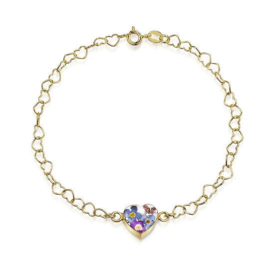 Real Flower Chain Bracelet, Gold Plated