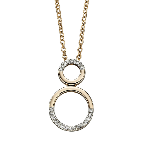 Gold and Diamond Circular detail Pendant and chain, Limited Edition