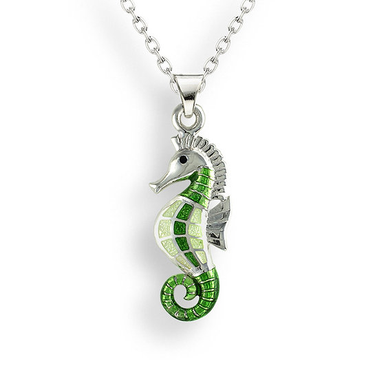 Sterling Silver Seahorse Necklace (Small) with White Sapphires