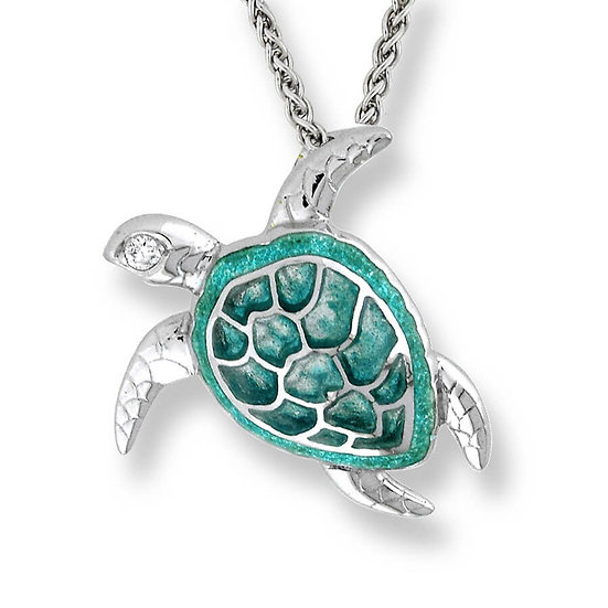 Sterling Silver Sea Turtle Necklace, White Sapphires, Large