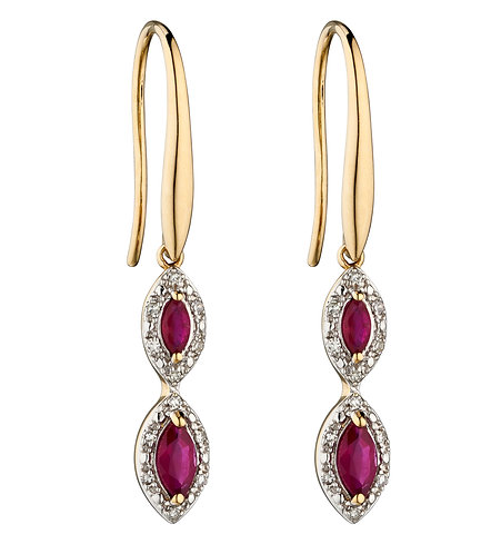 Ruby and Diamond Marquise Earrings