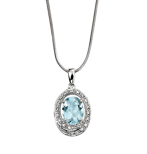 Diamond Halo Pendant with Aquamarine