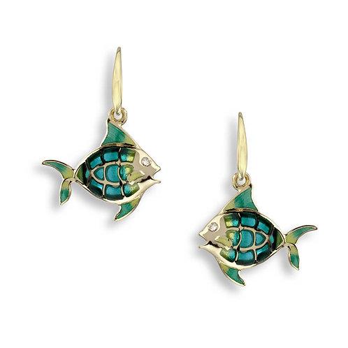 18 Carat Gold Angel Fish Earrings with Diamonds