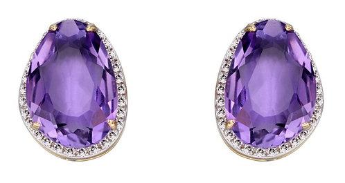 Organic Shaped Amethyst Stud Earrings with Diamond, 9ct Gold