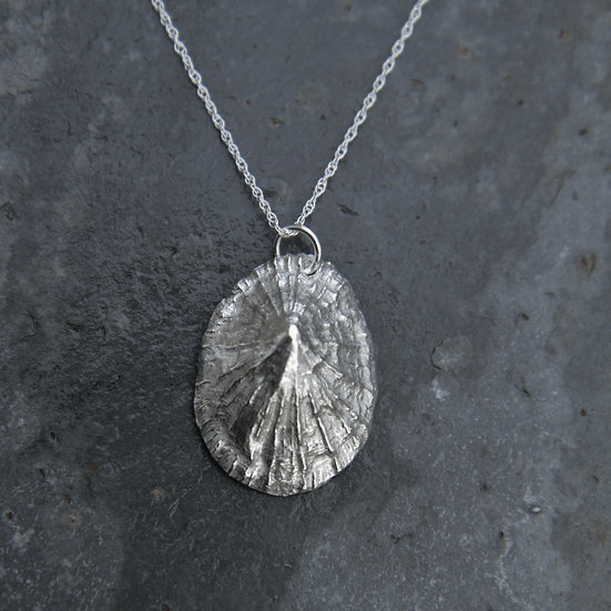 Limpet Shell Pendant, Natural Silver