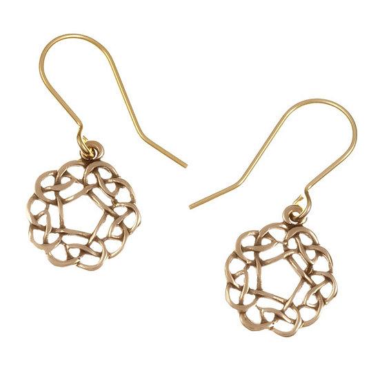 Pentagon Knot Drop earrings Bronze