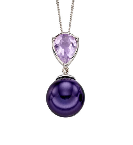 Purple Pearl and Amethyst Pendant