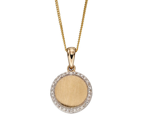 Diamond and Brushed Gold Disc Pendant