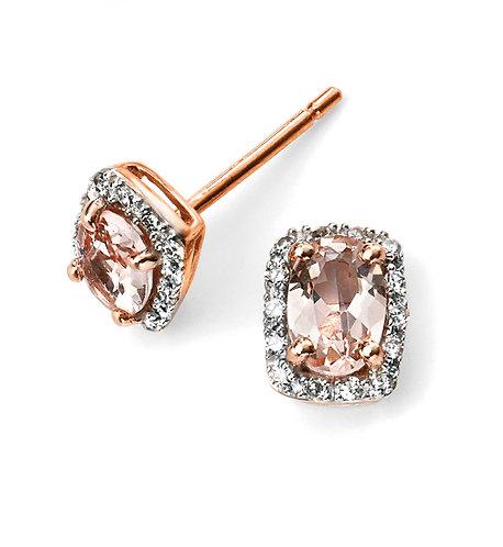 Rose Gold Morganite and Diamond Stud Earrings
