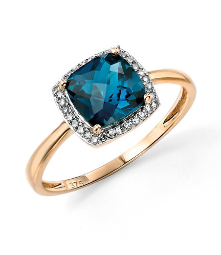 Yellow Gold  London Blue Topaz Checkerboard ring with Diamond