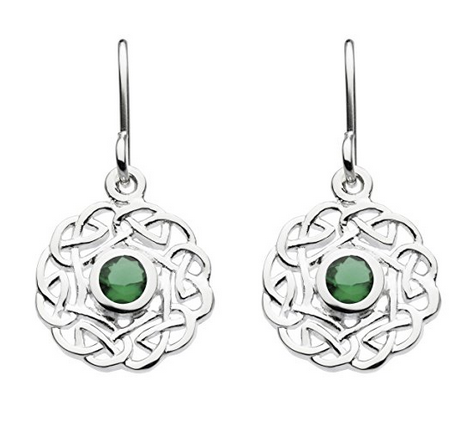 Celtic Silver Knotwork Earrings with Green Zirconia