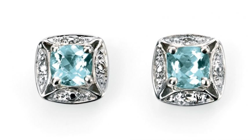 White Gold Aquamarine Earrings with Diamond