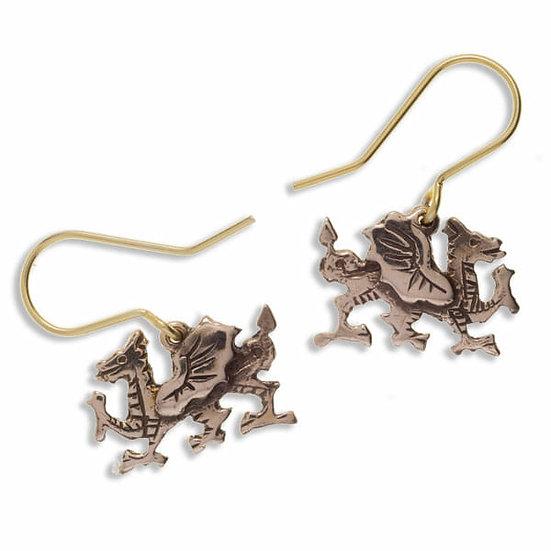 Welsh Dragon Earrings, Bronze