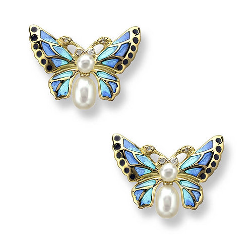 18 Carat Gold Blue Butterfly Earrings, Freshwater Pearl and Diamond
