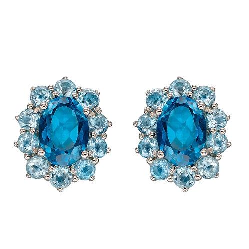 Blue Topaz Earrings in White Gold