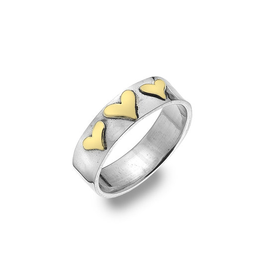 Silver Ring with Brass Hearts