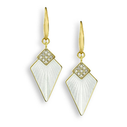 18 Carat Gold Art Deco Earrings with Diamonds, Blue or White
