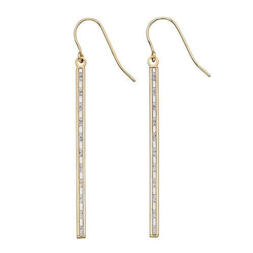 Baguette Glitter Long Drop Earrings
