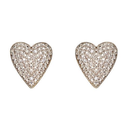 Diamond Pave Heart Earrings