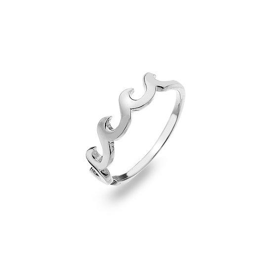 Breaking Waves Silver Ring